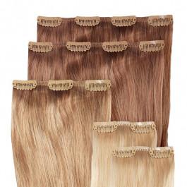 Clip in Extensions Set für Haarverdichtung aus Echthaar in 50cm, Größe S