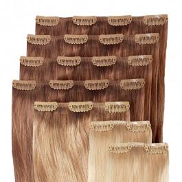 Clip in Extensions Set für Haarverdichtung / Haarverlängerung aus Echthaar in 60cm, Größe M