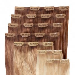 Clip in Extensions Set für Haarverdichtung / Haarverlängerung aus Echthaar in 50cm, Größe M