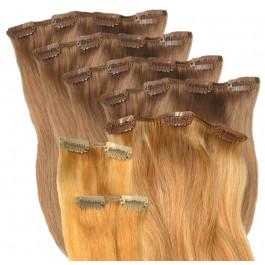 Premium Clip-in Extensions-Set zur Haarverlängerung aus Echthaar in 55 cm Länge