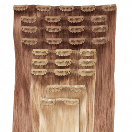 DELUXE - Clip in Extensions Set aus Echthaar in 40 cm Haarlänge