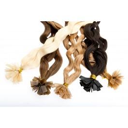 25 gelockte Echthaarsträhnchen mit flachen Bondings 40-50 cm