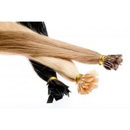 100 Echthaarsträhnen mit flachen Bondings in 60 cm Länge und 1 g Stärke
