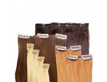 Clip-in-Extensions Set aus Echthaar in 50cm! Größe M für Haarverdichtung.