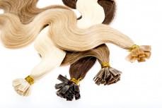 gewellte Echthaarsträhnen 40cm flache Bondings